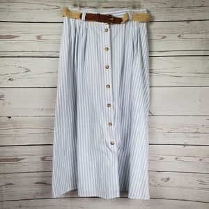 VINTAGE 80s button down striped skirt with pockets